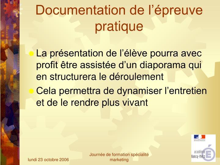 Documentation de l'épreuve pratique