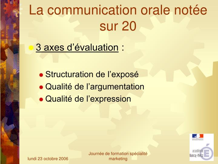 La communication orale notée sur 20