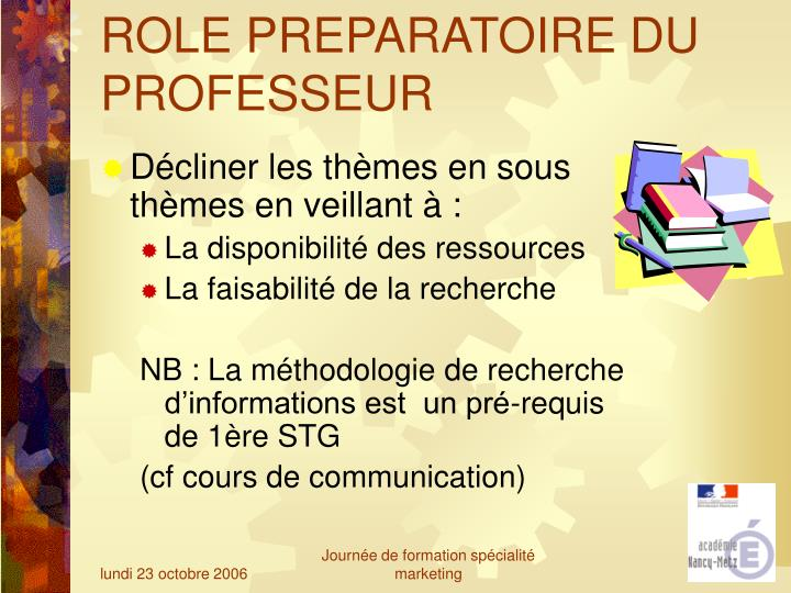 ROLE PREPARATOIRE DU PROFESSEUR
