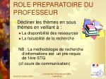 role preparatoire du professeur