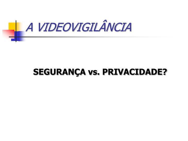 A VIDEOVIGILÂNCIA