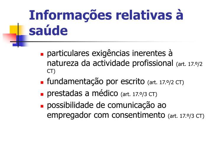Informações relativas à saúde