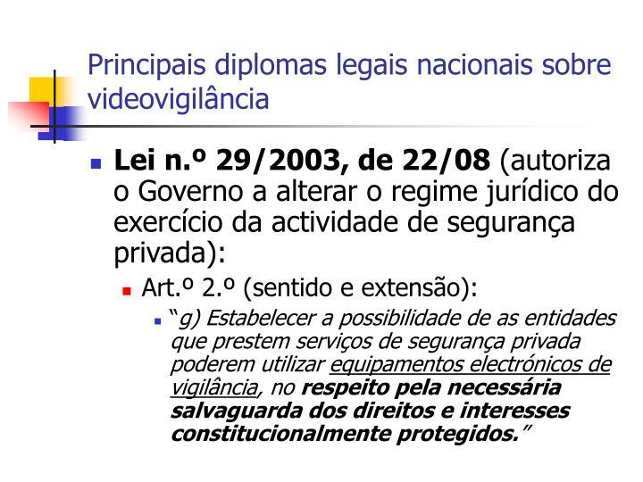 Principais diplomas legais nacionais sobre videovigilância