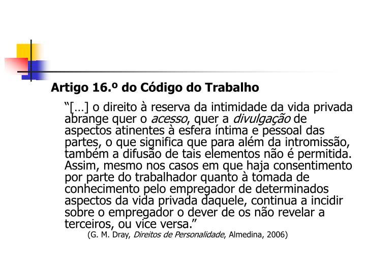 Artigo 16.º do Código do Trabalho