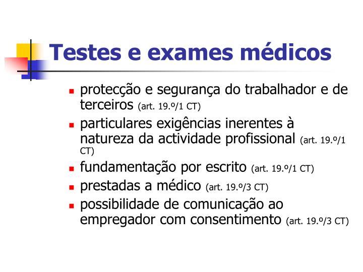 Testes e exames médicos