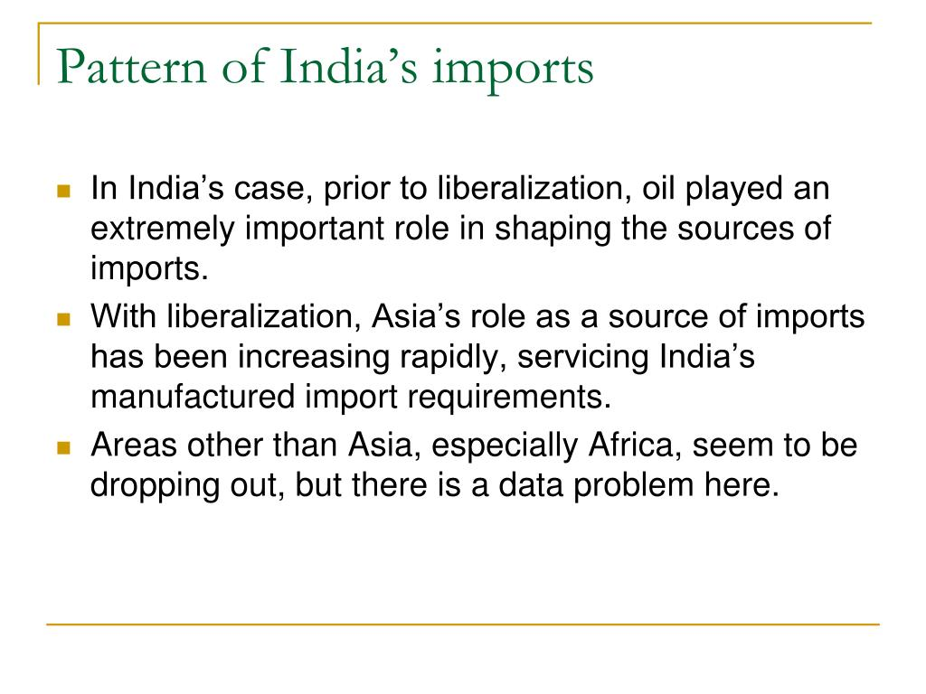 Pattern of India's imports