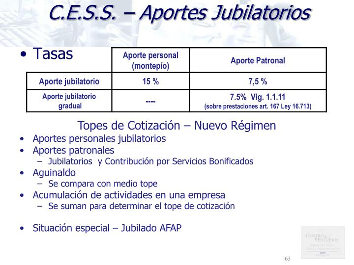 C.E.S.S. – Aportes Jubilatorios