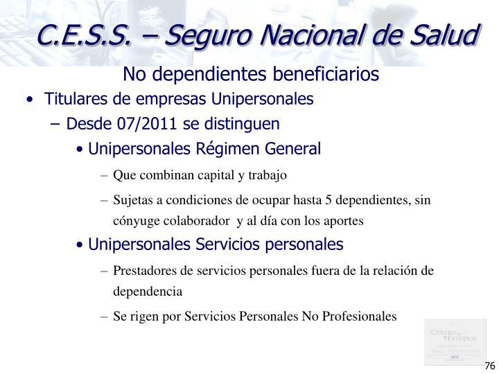 No dependientes beneficiarios