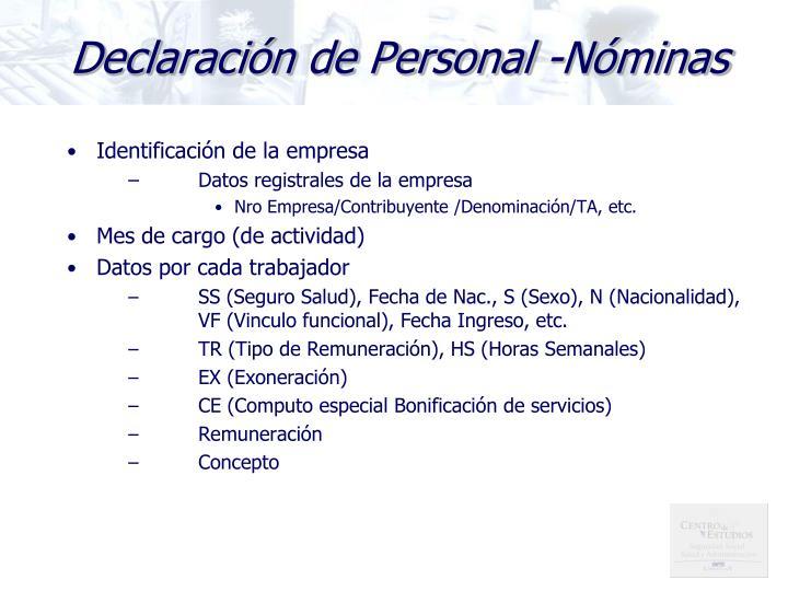 Declaración de Personal -Nóminas