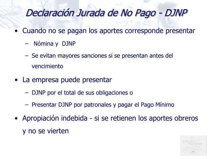 Declaración Jurada de No Pago - DJNP