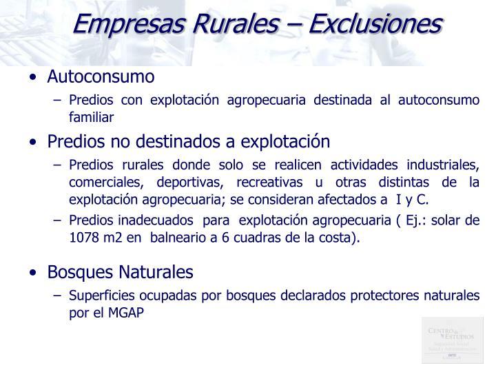 Empresas Rurales – Exclusiones