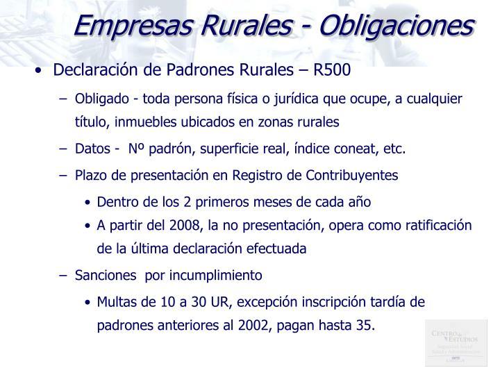 Empresas Rurales - Obligaciones
