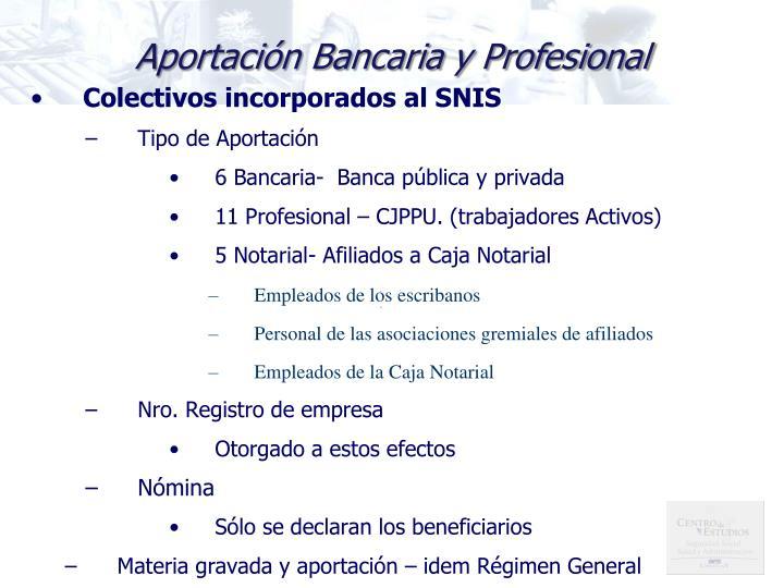 Colectivos incorporados al SNIS