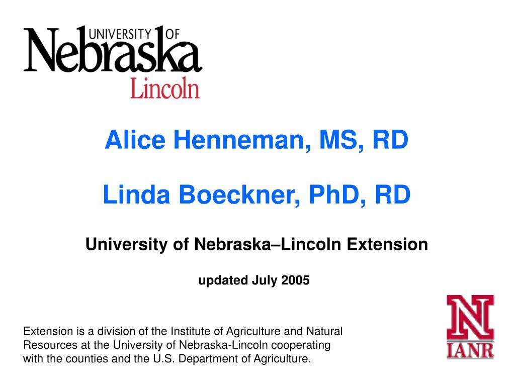 Alice Henneman, MS, RD