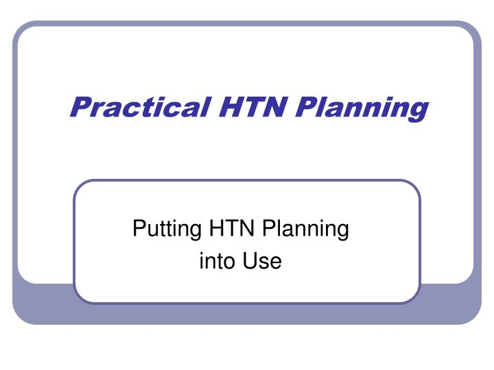 practical htn planning