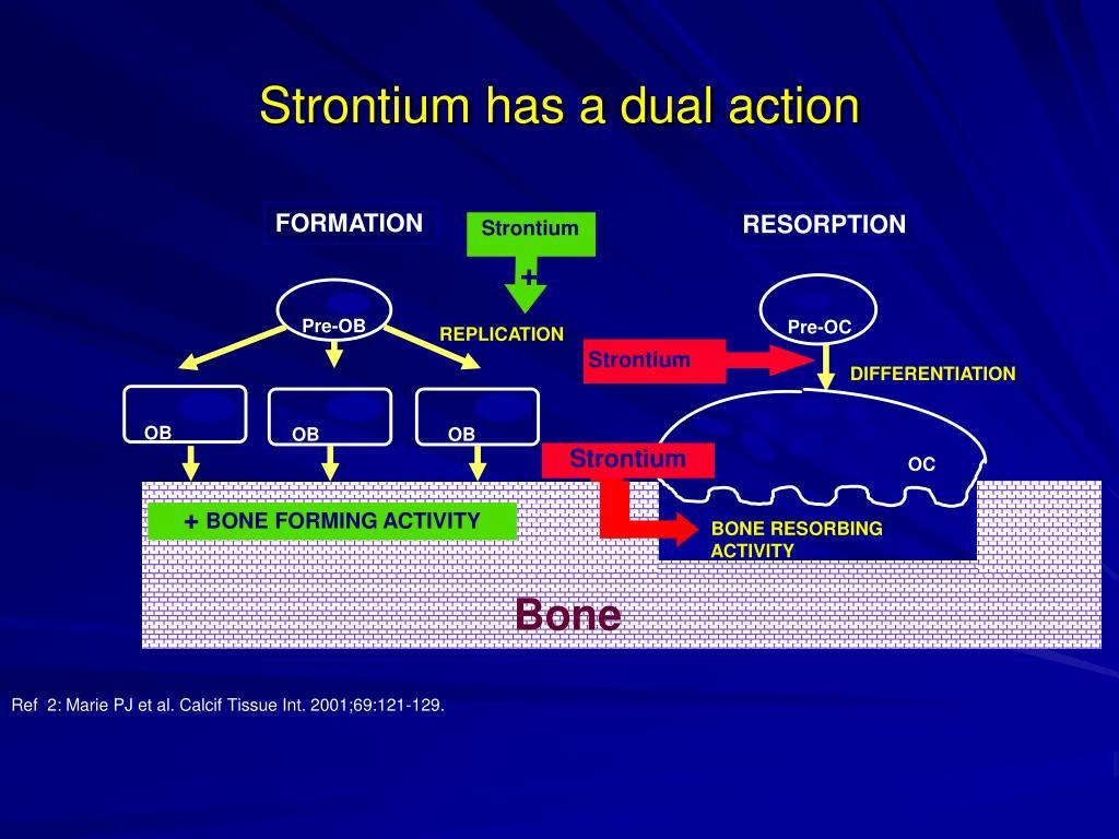 Strontium has a dual action