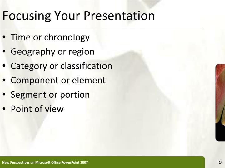 Focusing Your Presentation