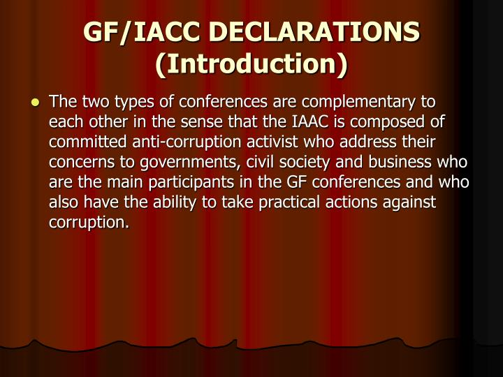 GF/IACC DECLARATIONS