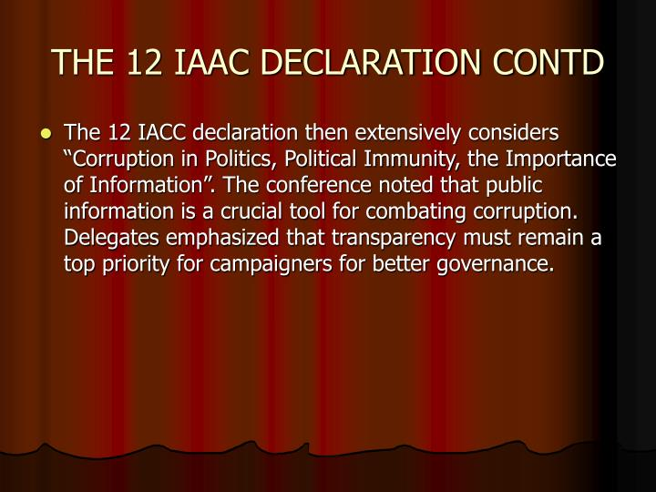 THE 12 IAAC DECLARATION CONTD