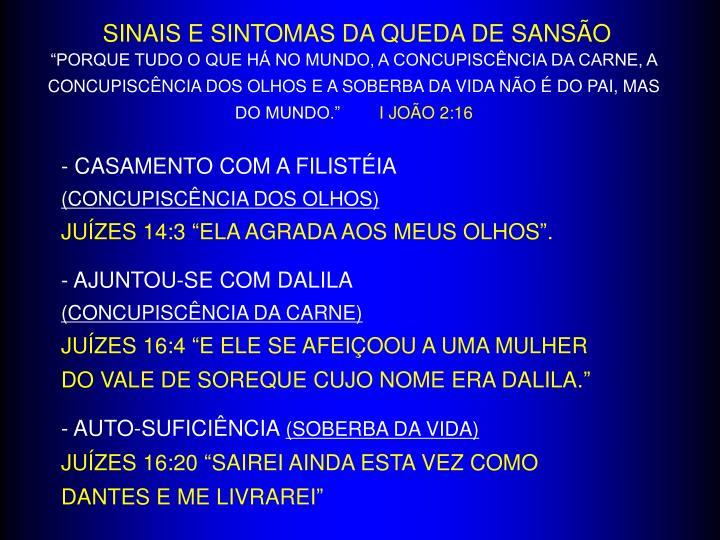 SINAIS E SINTOMAS DA QUEDA DE SANSÃO
