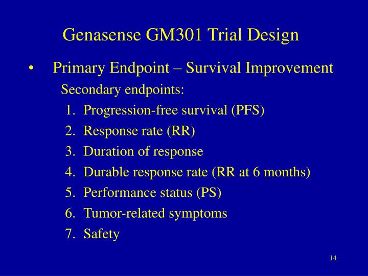 Genasense GM301 Trial Design