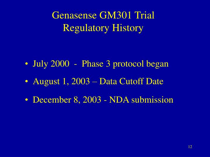Genasense GM301 Trial