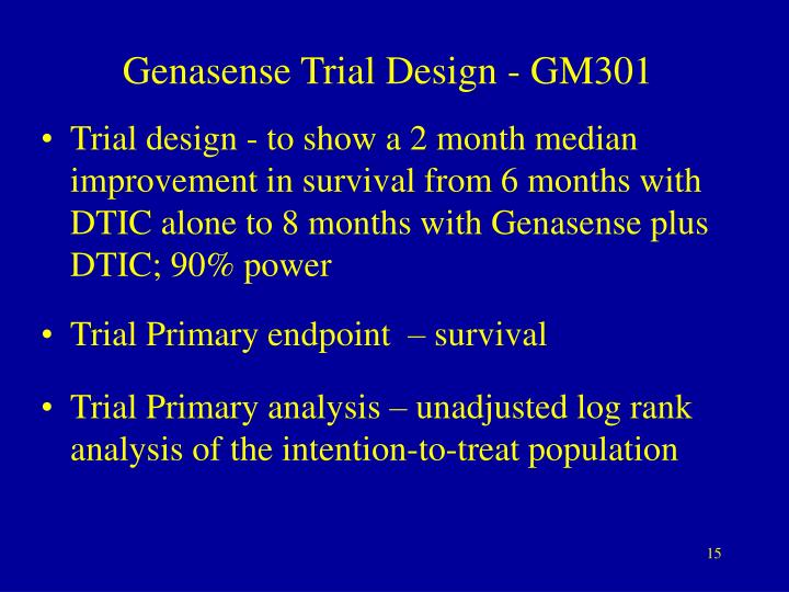 Genasense Trial Design - GM301