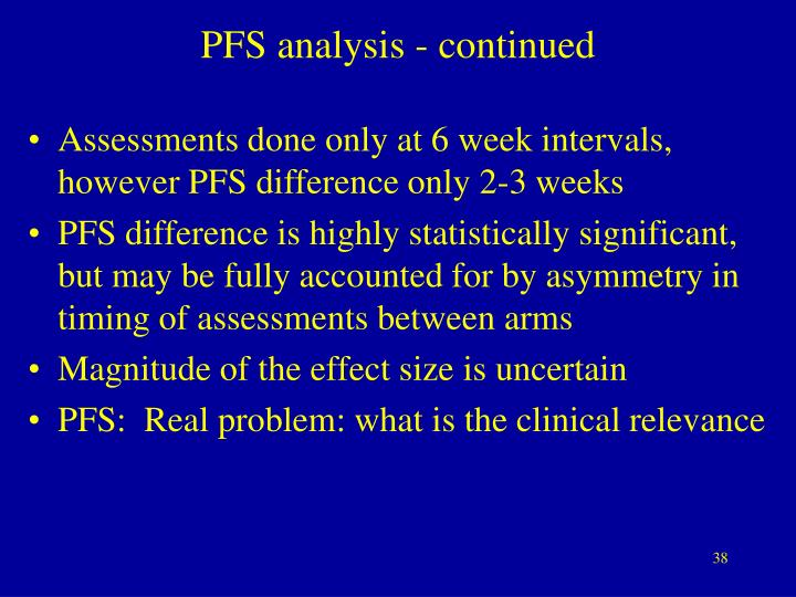 PFS analysis - continued