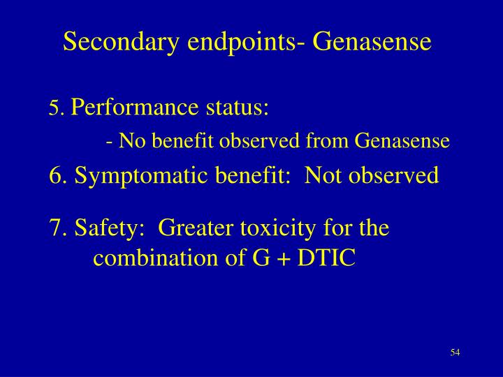 Secondary endpoints- Genasense