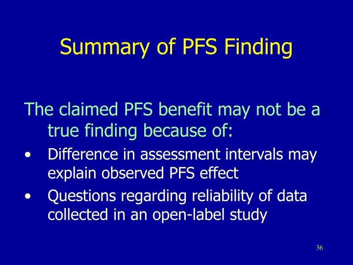 Summary of PFS Finding