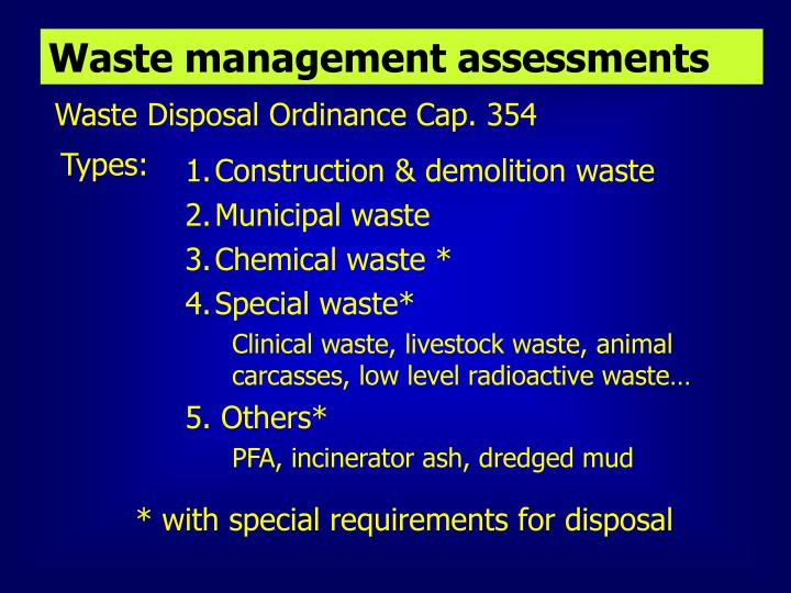 Waste management assessments