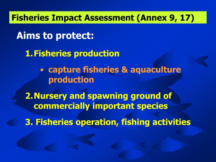 Fisheries Impact Assessment (Annex 9, 17)