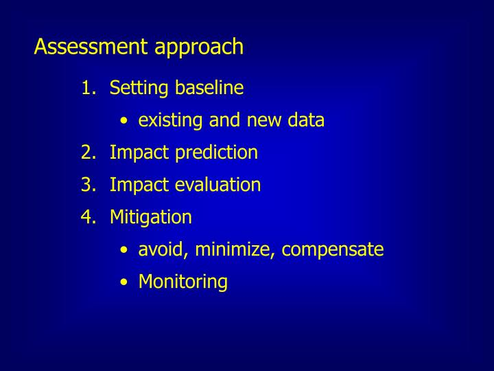 Assessment approach