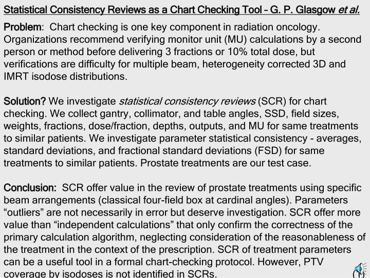 Statistical consistency reviews as a chart checking tool g p glasgow et al