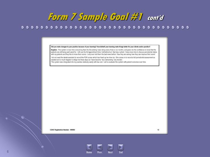 Form 7 Sample Goal #1
