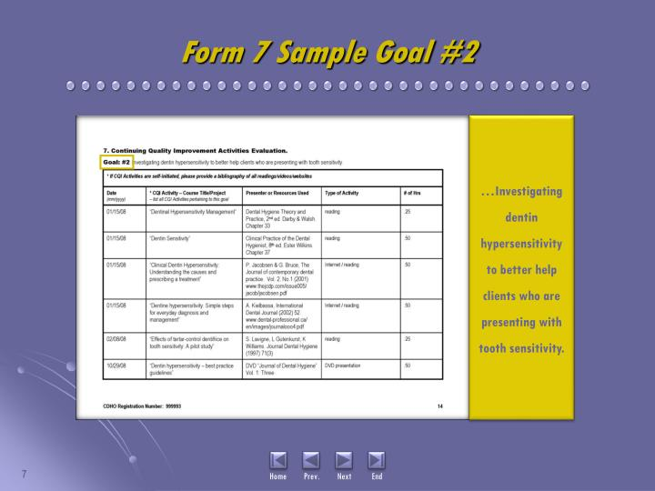 Form 7 Sample Goal #2