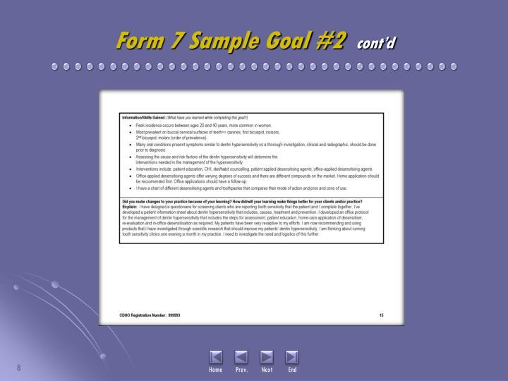 Form 7 Sample Goal #2