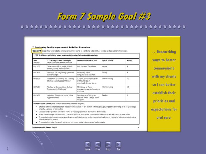 Form 7 Sample Goal #3