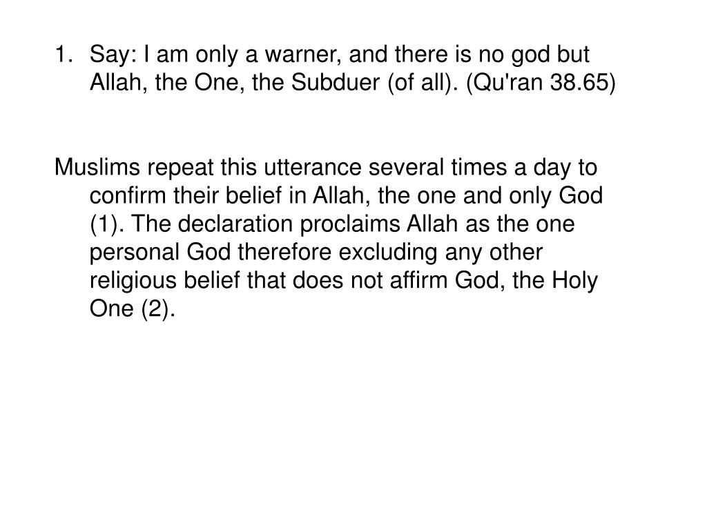 Say: I am only a warner, and there is no god but Allah, the One, the Subduer (of all). (Qu'ran 38.65)
