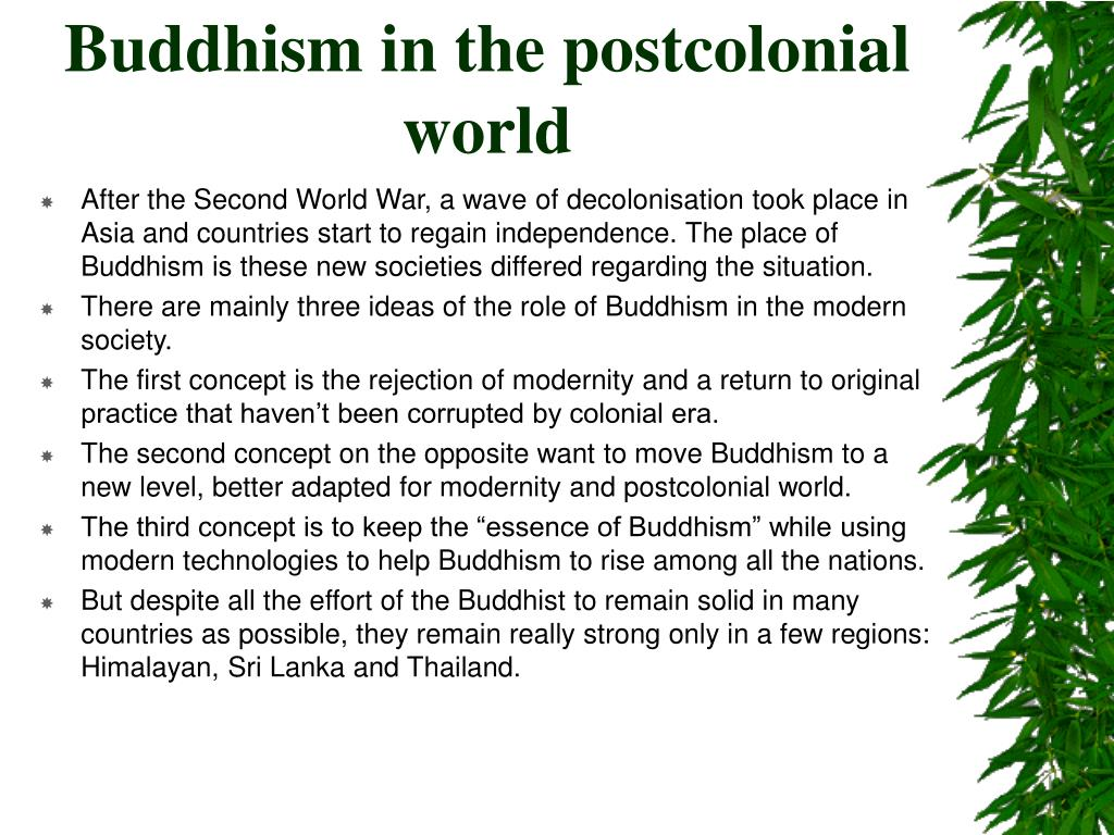 Buddhism in the postcolonial world
