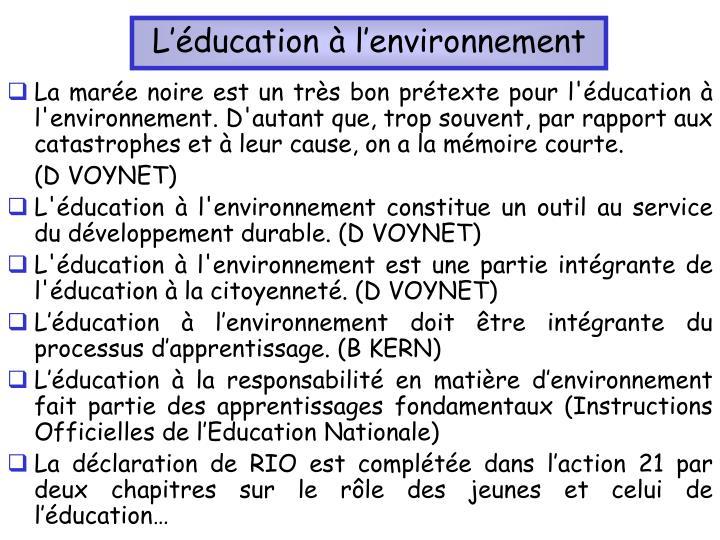 L'éducation à l'environnement