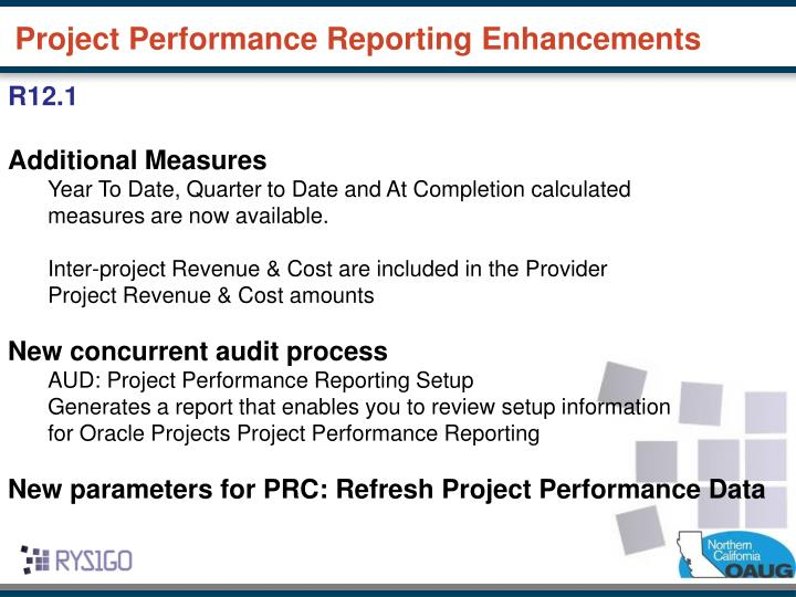 Project Performance Reporting Enhancements