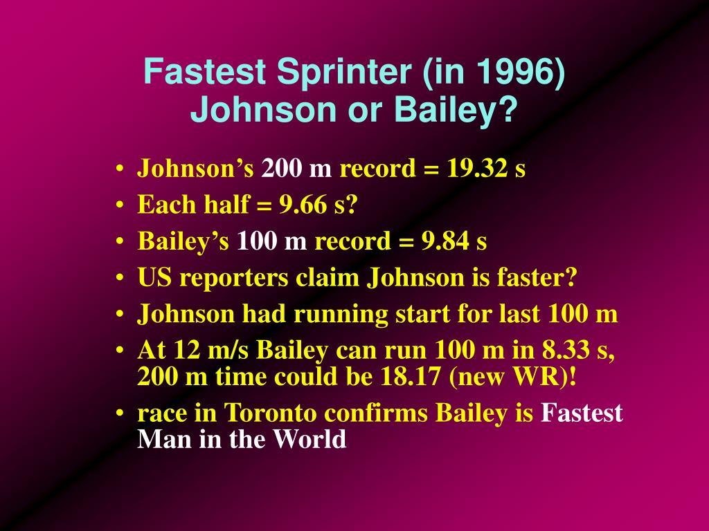 Fastest Sprinter (in 1996)