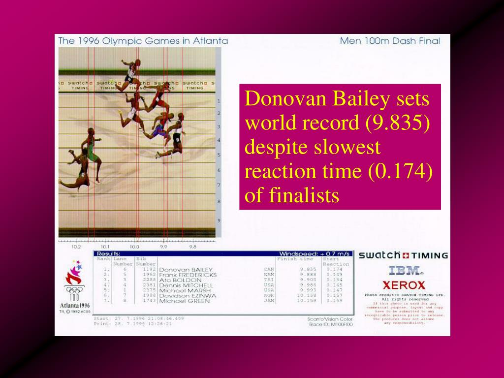 Donovan Bailey sets world record (9.835) despite slowest reaction time (0.174) of finalists