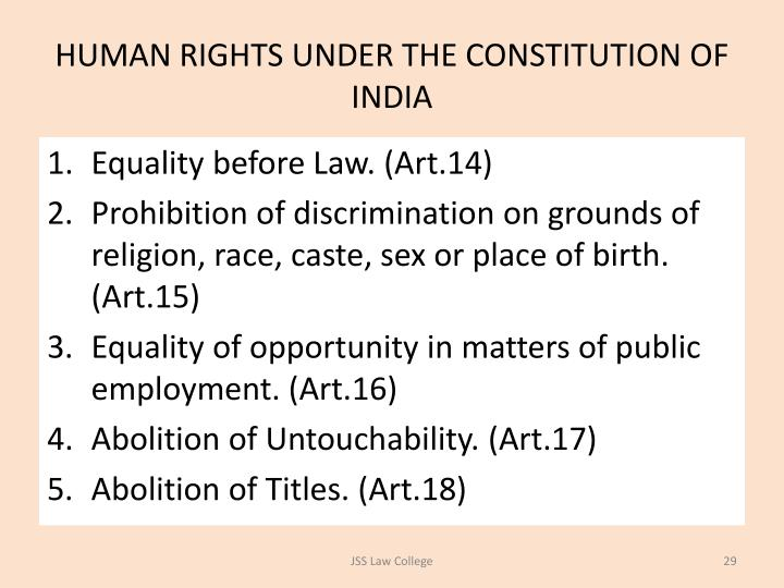 HUMAN RIGHTS UNDER THE CONSTITUTION OF INDIA