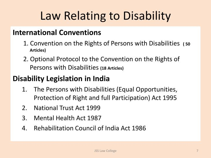 Law Relating to Disability