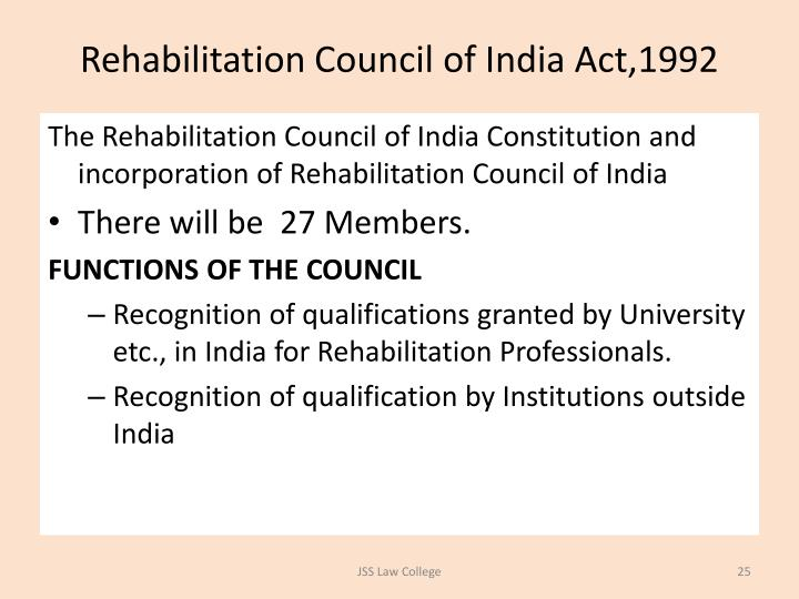 Rehabilitation Council of India Act,1992