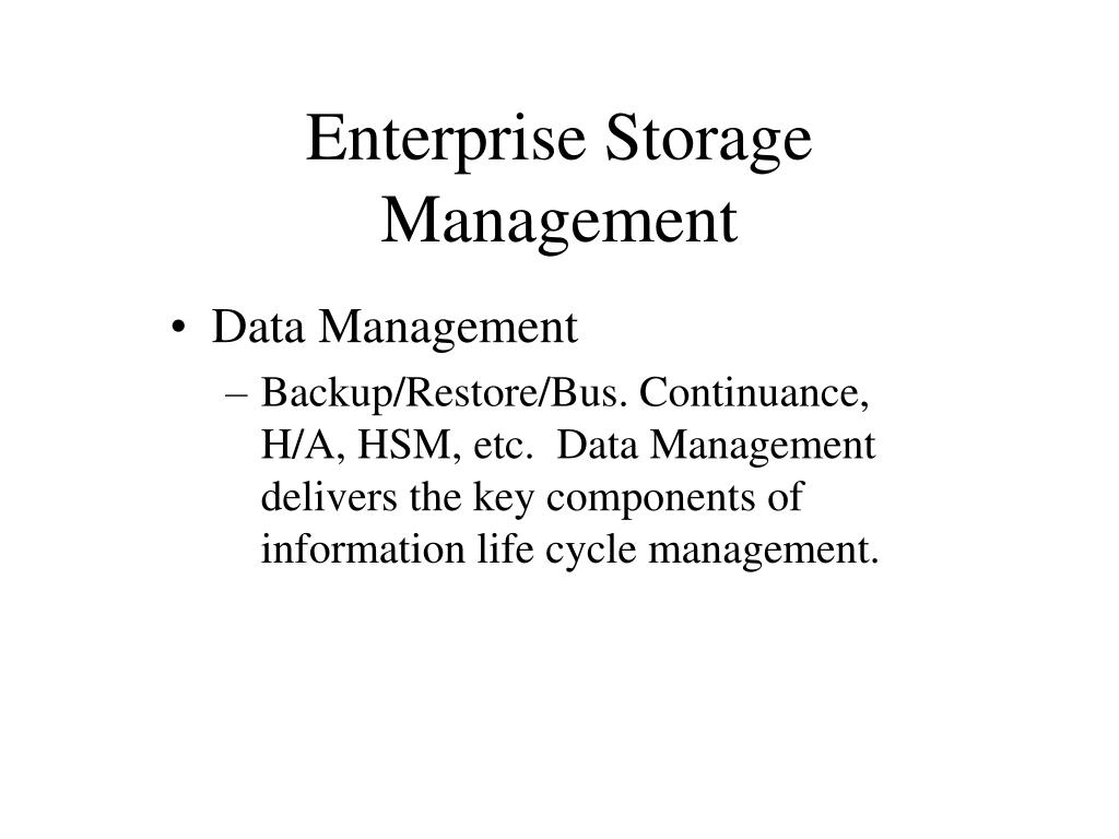 Enterprise Storage Management