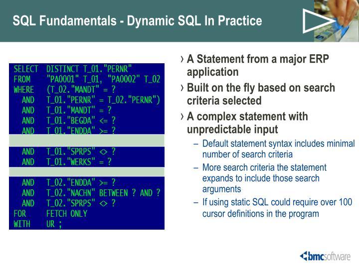 SQL Fundamentals - Dynamic SQL In Practice