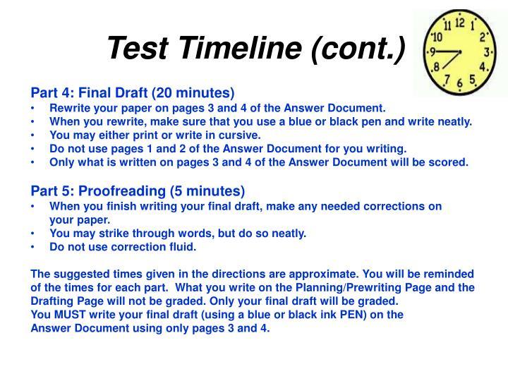 Test Timeline (cont.)